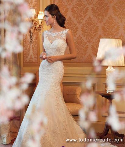 vestido de novia con encaje tul bordado y pedrería | todomercado chile