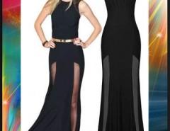 Vestido negro largo con tajo