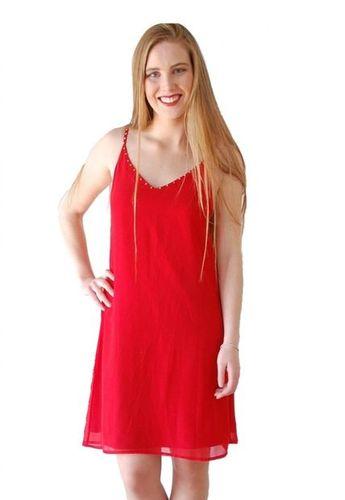 b35fa0ef5 Eshops Chile - Vestido Corto Gasa Espalda Cinta Rojo TiendaC