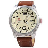 Caso NAVIFORCE NF 9063M Hombre reloj de cuarzo de cuero Negr