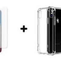 b765b3b34d7 Lamina de Vidrio Templado + Carcasa de Gel Transparente Bordes Reforza.  Lamina de Vidrio Templado Curva + Carcasa de Gel Transparente iPhone X